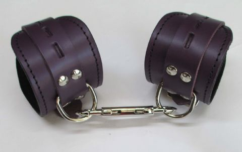 Pair of Midnight Purple Leather/Black Suede Lined Restraint Cuffs  (2 Cuffs)